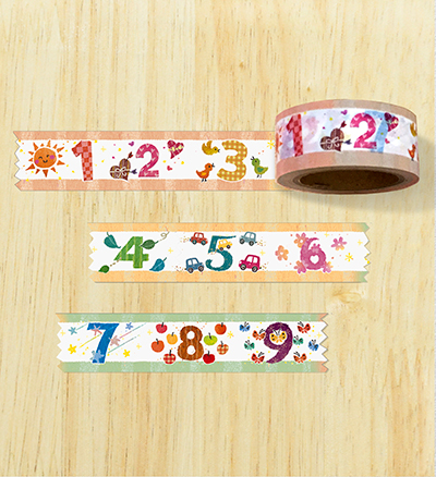 "Masking tape ""words of the numbers"""