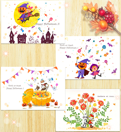 "Postcard ""Halloween & fall of Gerbera card set"""