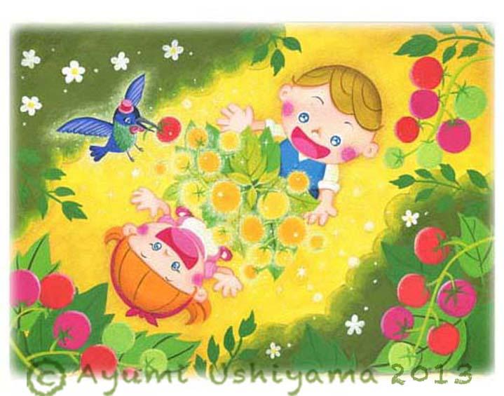 黄色いトマト 水彩・パステル 2013