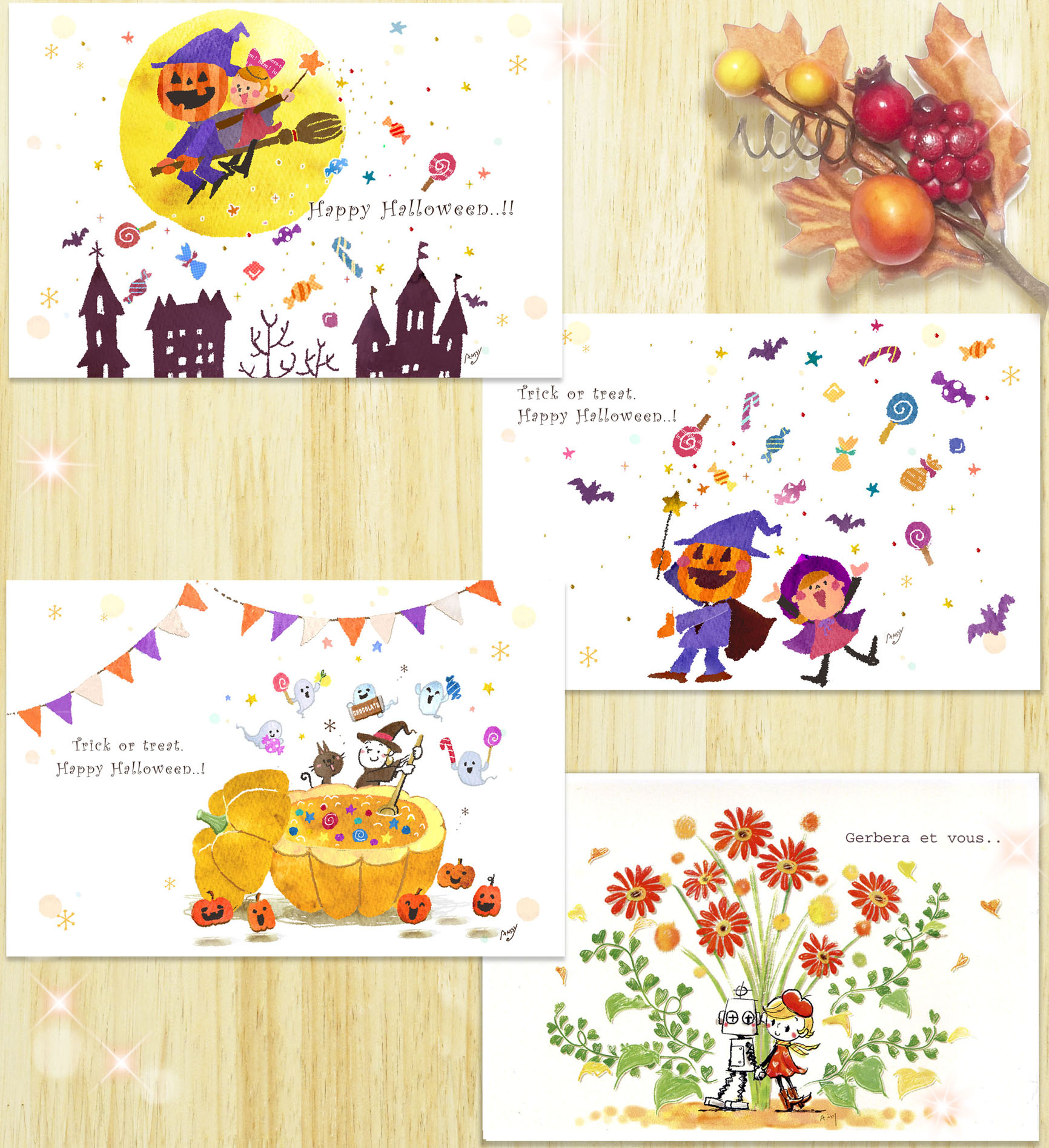 ポストカード<br>『ハロウィン&秋のガーベラカードセット』